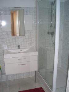 Agencement de salle de bains mosaïque verte à Fréjus